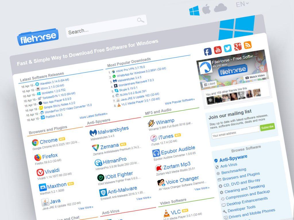 FileHorse download software gratis dan aman