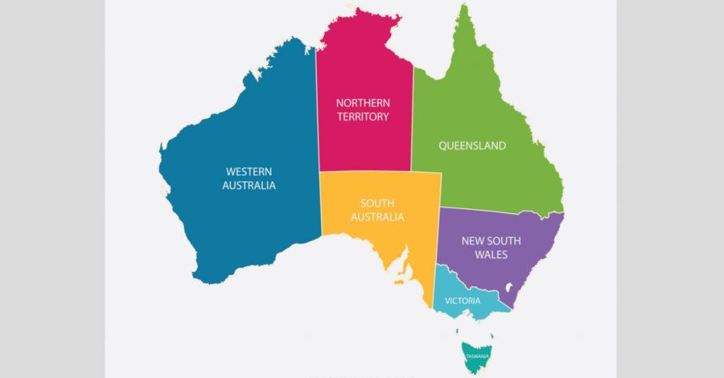 Pembagian negara-negara di benua Australia, iklim dan letak astronomis.