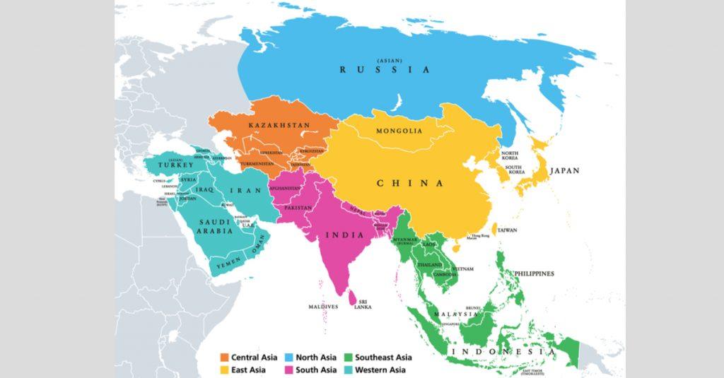Karakteristik benua Asia, letak astronomis dan gambar peta.